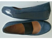 WOMENS FITFLOP DUE MARY JANES BLUE NUBUCK & PATENT LEATHER SIZE 3 (EURO 36) RRP NEW £85