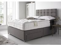 FREE Delivery FREE Extra High Designer Headboard PREMIUM QUALITY MATTRESS 8 Colours Double Bed King