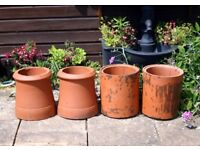 4 terrcotta chimney pots for planting or building use
