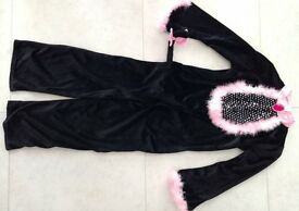 Halloween - Velvet Black Cat suit – dressing up –age 7-8