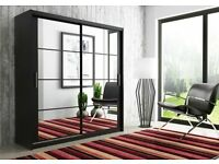 **7-DAY MONEY BACK GUARANTEE!** Dexter Luxury Sliding Door Wardrobe in Black and White - SAME DAY!