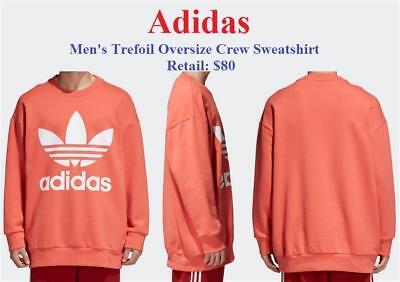 New Men's Adidas Trefoil Oversize Crew Sweatshirt Trace Scarlet Kanye West $80