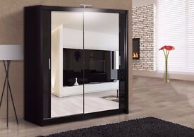 Brand New Berlin Wardrobe With Sliding Doors Fully Mirror - Express same day delivery