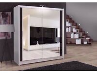 ❋★❋ WHITE , BLACK ,WALNUT ❋★❋ BERLIN WARDROBE BRAND NEW 2 DOOR SLIDING WARDROBE FULLY MIRROR