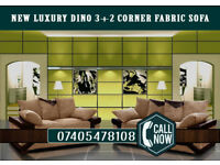 Superb New Luxury Dino 3+2 Corner Fabric Sofa Brown/Beige or Black/Grey Footstools-Cheap Price