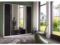 ASSURED QULAITY 3 DOOR WARDROBE HIGH GLOSS AVAILABLE IN BLACK AND WALNUT COLOUR 4 DOOR WARDROBE