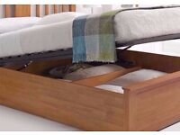 AVAILABLE WITH MATTRESSES== NEW Malmo Oak Finish Wooden Ottoman Storage Bed in Double and King Size