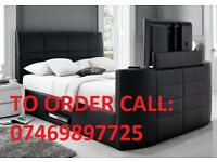*NEW*HQ CASINO DOUBLE LEATHER TV BED FRAME £299* ELECTRIC RISE*