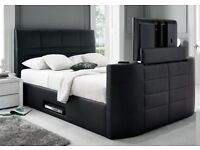 CASINO DOUBLE TV LEATHER BED FRAME £299 *HOLDS UP TO A 40 INCH TV -