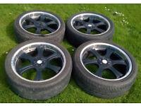 Calibre 22x9J 6x139.7 Deep Dish Alloy Wheels 285/35/ZR22 106W 2 Nearly New Tyres