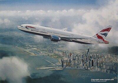 BRITISH AIRWAYS BOEING 777 AIRLINER ART PRINT CHICAGO ANTHONY COWLAND