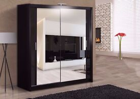 LIMITED TIME OFFER** Berlin Full Mirror 2 Door Sliding Wardrobe w/ Shelves, Hanging