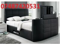 BLACK GAS LIFT STORAGE DOUBLE LEATHER BED FRAME
