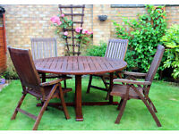Solid Teak Garden Table with 4 Inclining Chairs