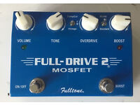 Fulltone FullDrive 2 MOSFET Guitar Overdrive Distortion Pedal +18v Power Supply