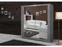 BRAND NEW BERLIN 2 DOOR SLIDING WARDROBE WITH FULL MIRROR IN BLACK WHITE WALNUT OAK WENGE GREY
