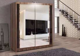 ZOMBA 2 DOOR WARDROBE AVAILABLE IN 3 COLOURS BLACK WALNUT WENGE AND WHITE COLOURS