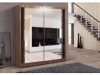 BRAND NEW BERLIN 2 DOOR WARDROBE AVAILABLE IN 3 COLOURS BLACK WALNUT WENGE AND WHITE COLOURS