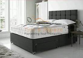 CHEAP CHENILLE AND CRUSHED VELVET DIVAN BED + MATTRESS + HEADBOARD - 3FT 4FT 4FT6 DOUBLE BED 5FT 6FT