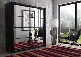 """SALE ENDS SOON"" **Brand New Chicago Full Mirror 2 Door Sliding Door Wardrobe** 4 Colors and 4 Sizes"