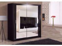 ★★★ 120 CM WIDTH ★★★ Brand New German Berlin Full Mirror 2 Door Sliding Wardrobe w/ Shelves, Hanging