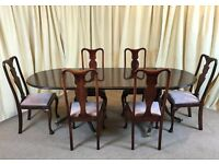 Antique Mahogany Dining Table & Chairs Victorian Extendible Table & 6 Queen Anne Chairs