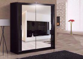 ==180 CM WIDTH ==Brand New German Berlin Full Mirror 2 Door Sliding Wardrobe w/ Shelves, Hanging
