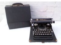 Antique BAR-LET Model 2 Manual Typewriter with Original Case and Ribbons - 1925