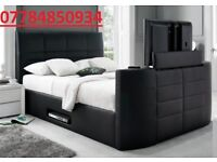 LEATHER double TV BED ELECTRIC RISE AND REMOTE + DELIVERY