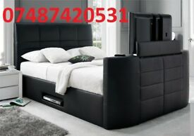 ELECTRIC GAS LIFT DOUBLE STORAGE LEATHER TV BED FRAME £299