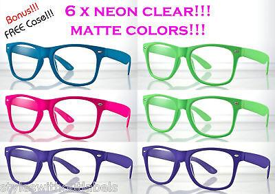 6 PAIRS MATTE NEON COLORS Hipster Clear Lens Nerd Glasses 80s RETRO PARTY PACK](Nerd Glasses Bulk)