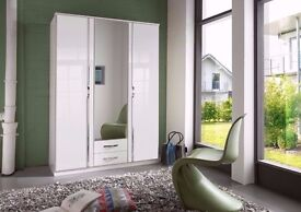 MODERN AND CLASSY- TRIO 3 DOOR GERMAN HIGH GLOSS WARDROBE - 2 DRAWER,MIRROR,HANGING,SHELVES