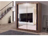 --2 DOOR SLIDING WARDROBE-- IN BLACK WHITE WENGE WALNUT COLOUR ---120 150 180 203 cm