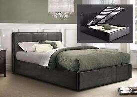 **GAS LIFT MECHANISM*KING SIZE*STORAGE LEATHE BED AND ROYAL FULL ORTHOPAEDIC MATTRESS - BRAND NEW
