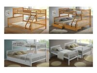 HIGH QUALITY, TRIPLE SLEEPER, 3 SLEEPER, SOLID, WOODEN, BUNK BED, WHITE, OAK, MATTRESSES