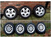 "BMW 4 x alloy wheels and VW 3x alloy wheelsWILL FIT MOST AUDI/VW/SKODA/SEAT MODELS 5 X 100 15"""