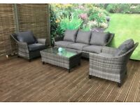 4867a6e8ce8f Homeflair Rattan Garden Furniture Francesca grey 3 seater sofa + 2 chairs + dining  Table set