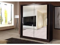 Chikargo Sliding Two and Three Door Wardrobes With Hanging Rails and Storage Shelves