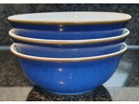 Denby Imperial Blue Soup/Cereal Bowls x 3 - Excellent condition
