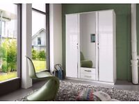 **AMAZING OFFER**HIGH GLOSS BRAND TRIO 3 door wardrobe and 4 door wardrobe in black & white colour