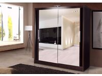 Brand New Berlin 2 Door German Sliding Wardrobe Full Mirror, Shelves, Hanging Rails Express Delivery