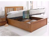 Solid Pine Wood -- Brand New Malmo Oak Finish Wooden Ottoman Storage Bed Double/ King Size