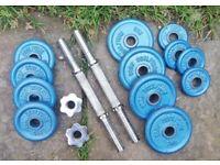 Dumbell bars (2 x 2kg) + metal plates – 4x 0.5kg, 4x 1.25kg, 4x 2kg.