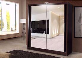 (EASTER SALE)Best Quality -Chicago 2 Sliding Mirror Door Wardrobe in Black White Walnut -