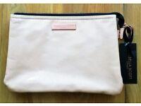 NEW Isabella Scott Sydney Cosmetic Bag Pale Peach Pink Copper Tag Logo & Labels Designer Large Bag