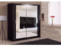 UPTO 50% OFF::: BRAND NEW - BERLIN 2 DOOR SLIDING WARDROBE WITH FULL MIRROR -EXPRESS DELIVERY