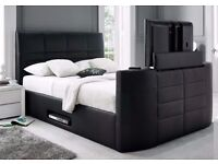 NEW LEATHER double TV BED FREE MATTRESS ELECTRIC RISE AND REMOTE + DELIVERY