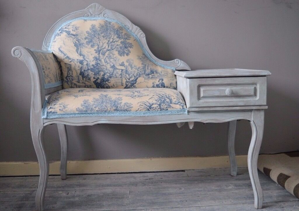 Shabby Chic Vintage Telephone Seat Chair Table Chaise Longue Toile De Jouy - Shabby Chic Vintage Telephone Seat Chair Table Chaise Longue Toile