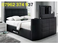 """*FAST DELIVERY + FREE QUILT *GROVENOR SIDE GAS LIFT TV BED + 14"""" MEMORY FOAM MATTRESS £449"""