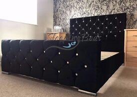 Dashing Black Double (4FT6) Crushed Velvet Fabric Upholstered Bed Frame